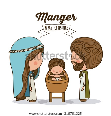 Merry Christmas concept about holy family design, vector illustration eps 10 - stock vector