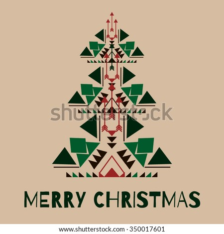 Merry christmas concept in native geometrical style. Tribal design element for greeting card, invitation, flyer, advertising poster or label. Vector christmas tree silhouette in boho style.   - stock vector