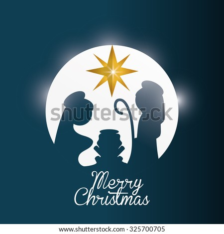 Merry Christmas concept with holy family design, vector illustration 10 eps graphic. - stock vector