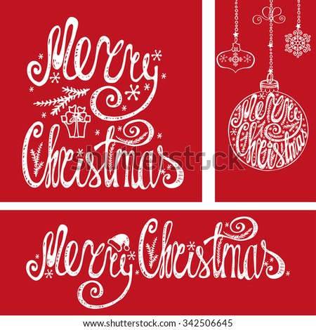Merry Christmas Congratulation cards,banner.Hand drawn lettering,vector typography.Handwriting title,balls shapes,garlands.Vintage decor on red background.For print and web - stock vector