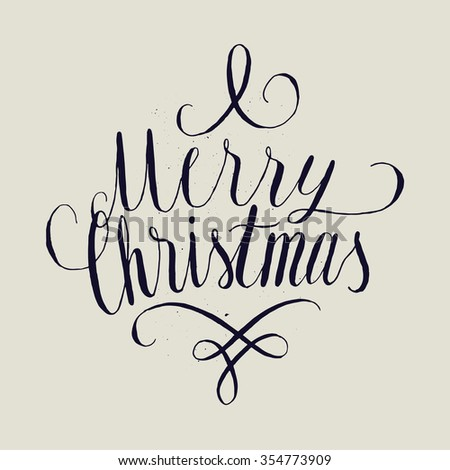 merry Christmas curly handwriting. - stock vector