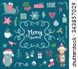 Merry Christmas decoration collection. Vector illustration, isolated decorative elements and lettering. - stock photo
