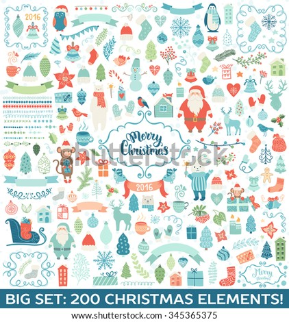 Merry Christmas decoration collection. Vector illustration, isolated decorative elements and lettering. - stock vector