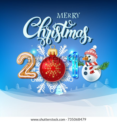 merry christmas 2018 decoration poster card happy new year sign background and composition on a