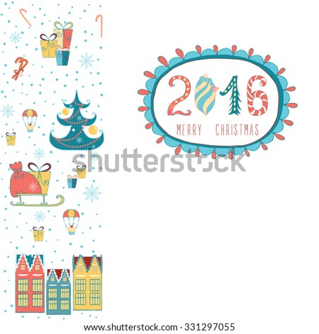 Merry Christmas decorations elements pattern border. Vector file organized in layers for easy editing. Frame made of cute doodles: New Year tree, houses, gifts. - stock vector