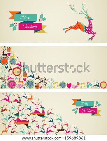 Merry Christmas decorations elements template web banners set. Vector file organized in layers for easy editing. - stock vector