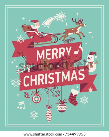 Merry Christmas decorative background. Vector banner, poster or greeting card template on Merry Xmas featuring Santa Claus riding sleigh, holiday ornate elements, snowman, snowflakes, etc.