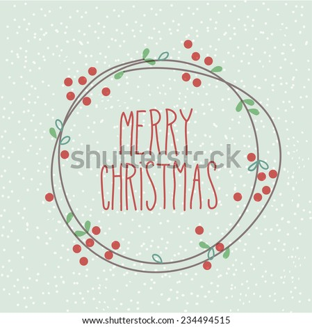 Merry Christmas Doodle Festive Wreath - stock vector