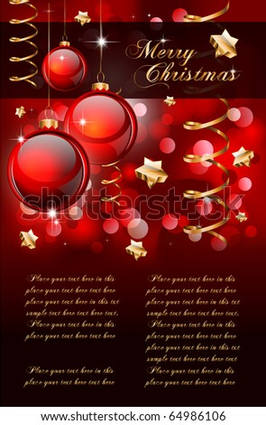 Merry Christmas Elegant Background for Flyers or Posters - stock vector