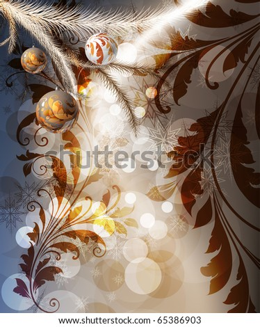 Merry Christmas Elegant Background for Greetings Card with balls, snowflakes, fur tree branches and sparks - stock vector