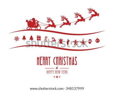 merry christmas elements santa sleigh isolated background - stock vector