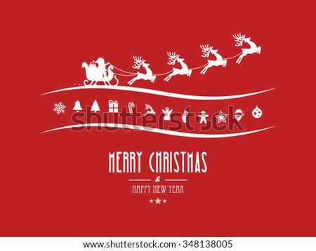 merry christmas elements santa sleigh red background - stock vector