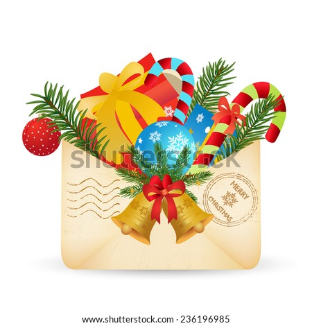 Merry Christmas envelope with  gifts and gold christmas bells - stock vector