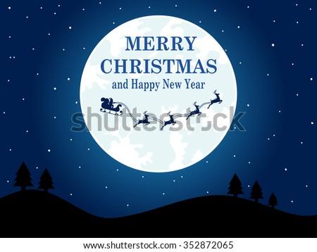 Merry Christmas Evening background Santa Flying - stock vector