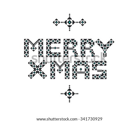 Merry Christmas folk inspired lettering knitted over white simple background. Vector Holiday Illustration. - stock vector