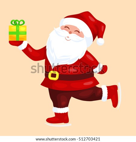 Merry Christmas. Funny Santa Claus with gift on skates.   Christmas card vector illustration