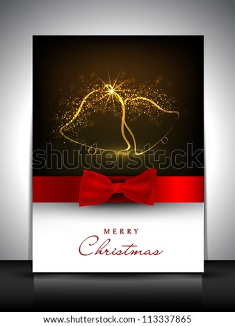 Merry Christmas gift card or greeting card decorated with shiny jingle bells and red ribbon. EPS 10. - stock vector
