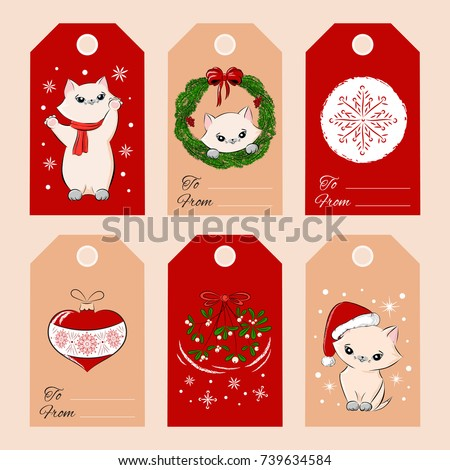 merry christmas gift tags template set stock photo photo vector