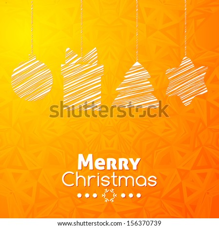 Merry Christmas gifts card abstract orange geometric background - stock vector