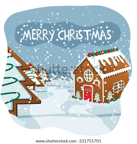Merry Christmas gingerbread town design EPS 10 vector illustration - stock vector