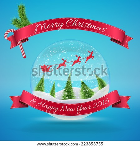 Merry Christmas Glass Snow Ball with xmas tree and happy new year greeting. Vector illustration for card, flyer, artwork, poster, banner. - stock vector