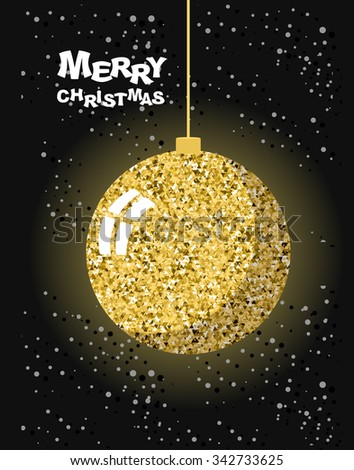 Merry Christmas. Gold Christmas tree toy ball and snow. Strict greeting card for new year. Luxury decoration for Christmas tree. - stock vector