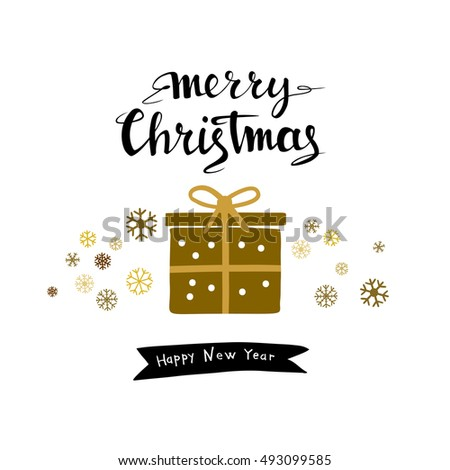 Merry Christmas gold design greeting card with funny gift. Hand-drawn lettering.