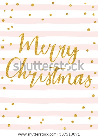 Merry Christmas - gold glittering lettering design with confetti pattern - stock vector