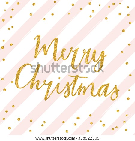 Merry Christmas - gold glittering lettering design with confetti pattern on diagonal striped background - stock vector