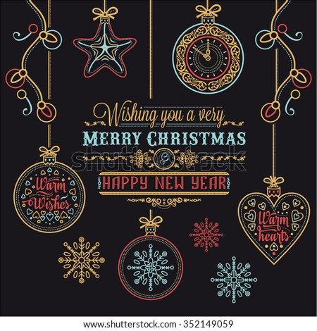 Merry Christmas. Gold. Greeting card. Holiday ornament. Season decoration. New year template. Festive texture. Winter decorate. Xmas congratulation text. Nativity message Golden phrase.  - stock vector