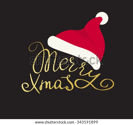 Merry Christmas golden handmade lettering inscription with swirls Santa's red hat isolated on black background. Design for xmas greeting card - stock vector