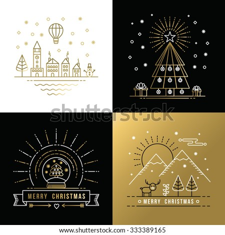 Merry Christmas golden outline label set with winter city, xmas tree, snow globe, and reindeer elements. Ideal for holiday invitation or greeting card. EPS10 vector. - stock vector