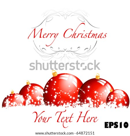 Merry Christmas- great for card, or banner ad, easy to edit - stock vector