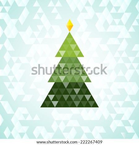Merry Christmas green tree,  triangular pattern - stock vector