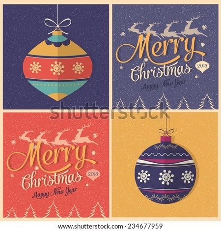 Merry Christmas greeting card, and typographic design. - stock vector