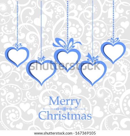 Merry Christmas greeting card. Celebration background with Christmas hearts and place for your text. Vector Illustration  - stock vector
