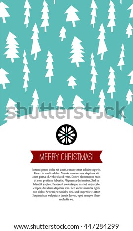 Merry Christmas Greeting card. Christmas postcard with tree pattern decoration, red ribbon, ornamental snowflake. Vector illustration. Holiday background with vintage landscae. - stock vector