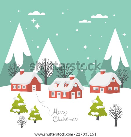 Merry Christmas greeting card design with country landscape in flat modern style
