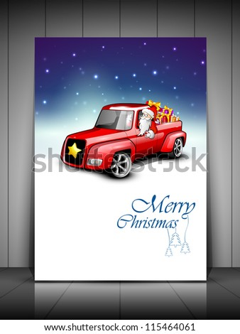 Merry Christmas greeting card, gift card or invitation card with Santa riding car loaded with gifts. EPS 10. - stock vector