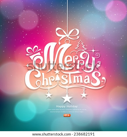 Merry Christmas greeting card lettering design colorful background, vector illustration - stock vector