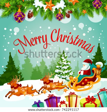 merry christmas greeting card santa on stock vector royalty free