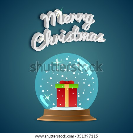 Merry Christmas. Greeting card. Snow globe. Vector illustration. EPS10 - stock vector