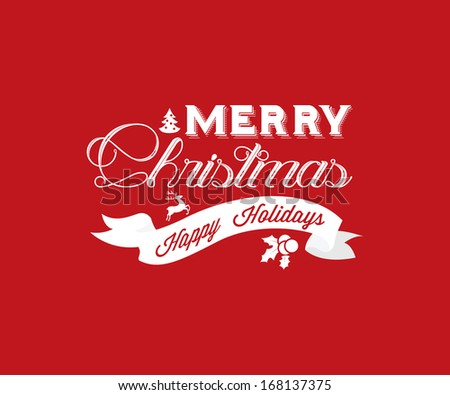 Merry Christmas Greeting Card | Typography | Retro Style - stock vector