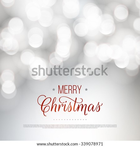 Merry Christmas greeting card. Vector bokeh background, festive defocused lights. - stock vector