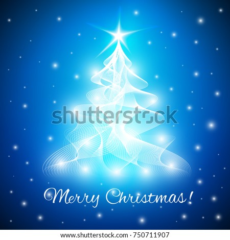 Merry christmas greeting card abstract christmas stock vector hd merry christmas greeting card with abstract christmas tree from twisted lines with lights m4hsunfo