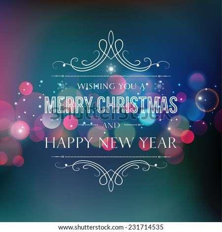 Merry Christmas greeting card with blue  bokeh and type - stock vector