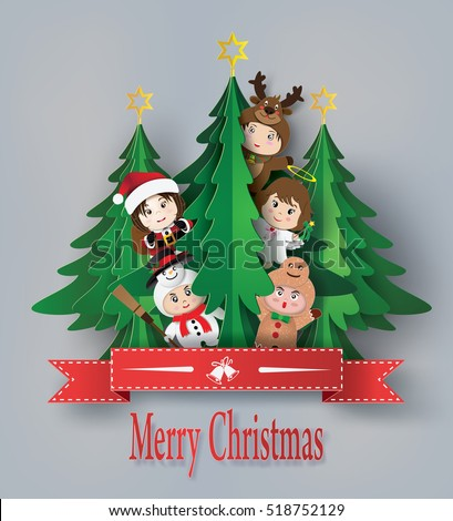 merry christmas greeting card with children wearing fancy dress cute  ,paper art style.