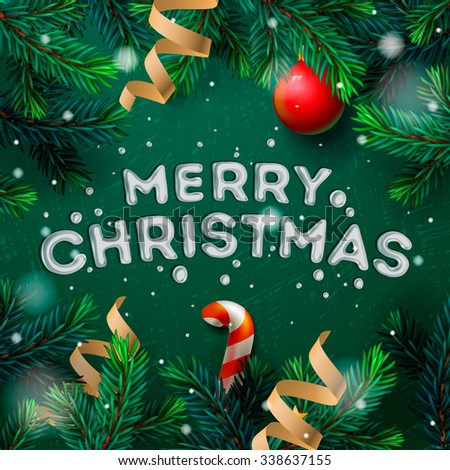 Merry Christmas greeting card with Chrirstmas decor fir twigs and confetti, vector illustration. - stock vector