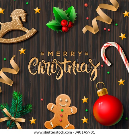 Merry Christmas greeting card with Chrirstmas decor gingerbread man, cookies, candy, vector illustration. - stock vector