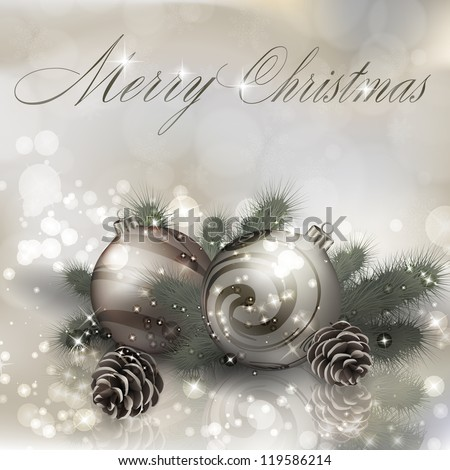 Merry Christmas greeting card with Christmas balls. Vector eps10 illustration